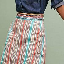 New Anthropologie Embroidered Waist Striped a Line Skirt Size 2 Photo