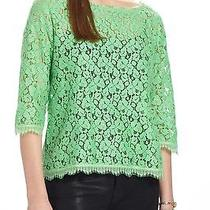 New Anthropologie Fringed Lace Layer Tee Top by Weston Wear Green L Photo