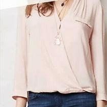 New Anthropologie Hd in Paris Women's Pink Blush Faux Wrap Top Blouse Size 2 Photo