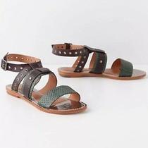 New Anthropologie Leifsdottir Ulli Leather Anckle Strap Sandals 168 Sz 6m Green Photo