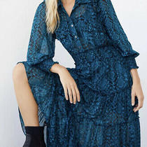 New Anthropologie Misa Los Angeles Evangelina Maxi Shirt Dress Blue Small  Photo