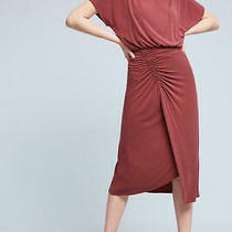 New Anthropologie Moulinette Soeurs Etta Ruched Midi Dress Wine Burgundy Xs (S) Photo
