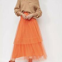 New Anthropologie Orange Evelyn Tulle Modal Midi Skirt Polka Dots Size Xs P 148 Photo