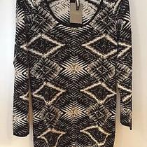 New Anthropologie Plenty Tracy Reese Felicity Sweater Dress Black White L Xl Photo