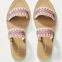 New Anthropologie Regina Woven Slide Sandals Pink Size 8 Photo