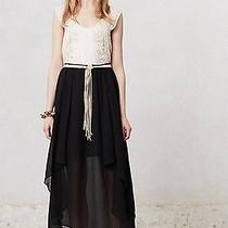 New Anthropologie Sanctuary Black Chiffon 128 Kerchief High-Low Maxi Skirt Sz L Photo