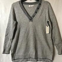 New Anthropologie Serena v-Neck Sweater Striped Gray White Pullover Top Sz Xs Photo
