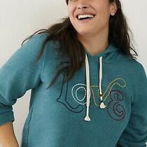 New Anthropologie Womens Hoodie 3x Turquoise Cropped Love Sol Angeles 119 Photo