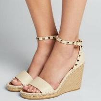 New Anthropologie Womens Blush Tan Rockstud Wedge Heels Sandal Shoes Size 8 10 Photo