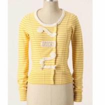 New Anthropologie Yellow Striped