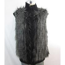 New Aqua Black White Faux Fur Snap Button Front Ribbed Vest Small 148 Photo