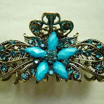 New Aqua Blue Crystal Flowers Hair Clip Claw  Photo