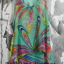 New Aqua Green Paint Splash Psychedelic High Lo Sexy Cute Summer Tank Top Cami S Photo