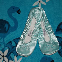 New   Aqua Green Satin Ballet Style Slippers Flat Shoes Size 7 - 8 Medium      Photo