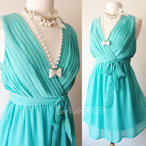 New Aqua Turquoise Blue Surplice v-Neck Pleated Bodice Dreamy Chiffon Sun Dress Photo