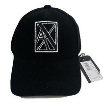 New Armani Exchange Ax Mens Black Wool Blend Baseball Cap With Patch Photo