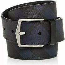New Auth Burberry Joe Plaid Men Leather Belt Nova Check Blue & Black 30 75 390 Photo