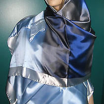 New Auth Chanel Blue Taffeta  Multi Color  Wrap Shawl - Outstanding Photo