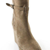 New Auth Chloe Light Brown Suede Round Toe Buckle Detail Wedges Boots Sz 36 6 Photo