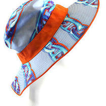 New Auth Hermes Periwinkle Sky Blue Orange Chain Print Bucket Hat Sz 58 Photo
