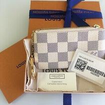 New Auth Louis Vuitton Cles Key Pouch Damier Azur Bag Charm  Rare /w Gift R Photo
