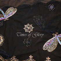 New Auth Matthew Williamson Black Silk Sequins Embroidered Evening Scarf Shawl Photo