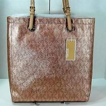 New Auth Michael Kors Signature Item Rose Gold Metallic Jet Set Item Tote Photo