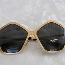 New Auth Miu Miu by Prada  Brushed Gold Sunglasses Smu 53n Jaz-1a1 W/prada Case Photo