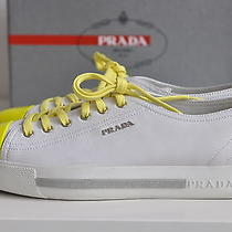 New Auth Prada Cap Toe Yellow Leather Lace Up Sneakers Oxfords Shoes Sz 10  / 40 Photo