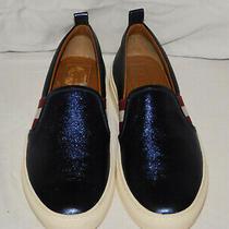 New Authentic Bally Blue Metallic Slip on Sneakers Size 8 1/2m Photo
