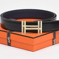 New Authentic Bnib Hermes Reversible H 32mm Belt Kit Black Blue De Pruss 100cm Photo