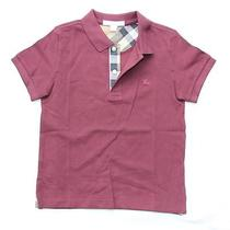 New Authentic Burberry Check Boys Polo Shirt T-Shirt Tuscan Red Size 12 Years Photo