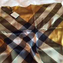 New Authentic Burberry Check Silk Satin Scarf Square 50cm.made in Italy  Photo