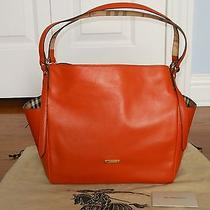 New Authentic Burberry Leather Canterbury Handbag Tote Purse Bag Burnt Amber Photo