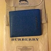 New Authentic Burberry Mineral Bleu Bifold Leather Wallet Billfold Photo