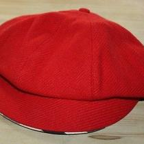 New Authentic Burberry Red Classic Wool Hat Cap W Plaid Trim and Lining Size S Photo