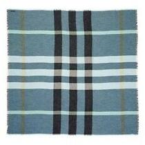 New Authentic Burberry Women Unisex Mega Check Nova Plaid Logo Scarf Blue 690 Photo