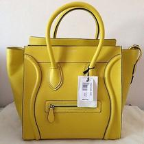 New Authentic Celine Citron Yellow Drummed Leather Mini Luggage Bag Tote Photo