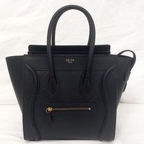 New Authentic Celine Micro Luggage Black Smooth Leather Tote Handbag Bag Photo
