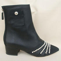 New Authentic Chanel Black Leather Cc Pearl Ankle Heel Bootie. Rrp 2200 Photo