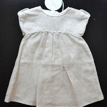 New Authentic Chloe Chloe Infant Baby Girl Beige Linen-Blend Dress (6 Months) Photo
