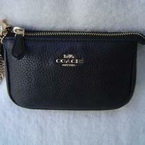 New Authentic Coach Black Pebble Leather Wristlet 64571 Photo