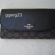 New Authentic Coach Black Smoke Outline Signature Check Book Wallet 55202 Photo