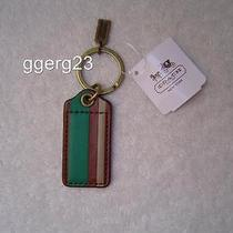 New Authentic Coach Debossed Fawn Leather Painted Stripe Key Fob 63098 Photo