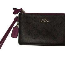 New Authentic Coach Double Corner Zip Wristlet Wallet Brown/purple Photo