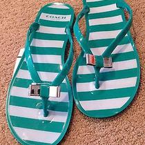 New Authentic Coach Green White Striped Silver Bow Gel Flip Flops Sandals  7 Photo