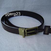New Authentic Coach Mens Dark Brown Leather Cut to Size Belt64824 Photo