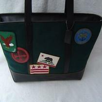 New Authentic Coach Mens Green Felt West Tote With Patches  31340 Photo