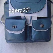 New Authentic Coach Metallic Blue Grain Leather Mickie Backpack 36683 Photo