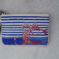 New Authentic Coach Nautical Blue and White Canvas With Sequins Wristlet 45474 Photo